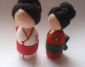 Kokeshi, beautiful Japanese-inspired waldorf doll made of merino wool. Obi made of wool felt.