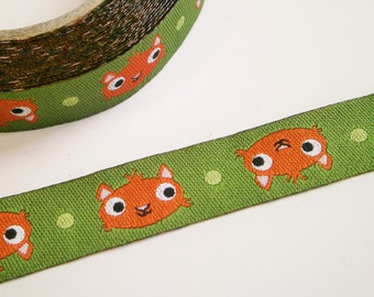 "1 m Woven Ribbon ""Squirrel"" 12 mm Design paulapü"