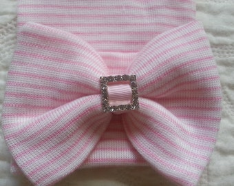 Pink and White Hospital Newborn Beanie with matching  Bow. Now with added Sparkle!  Newborn Hat, Baby Girl Hospital Hat, Newborn Girl Hat