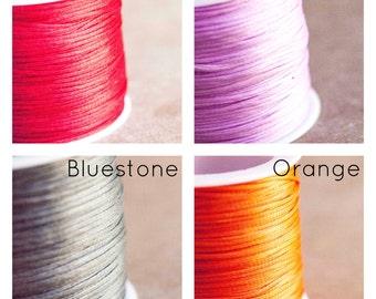 1mm Flat Waxed Linen Bluestone / Lilac / Orange / Red 3 Metres