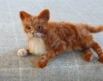 NOW SOLD ..needle felted cat called Marmalade