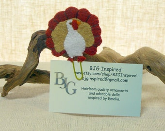 Felt Turkey Bookmark with Paperclip, Wool Felt Thanksgiving Gift Card Holder, Business Card Holder *Ready to ship