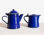 Set of 2 dark blue enamel kettles - French vintage kitchen home decor