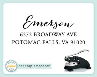 Embosser - EMERSON Style - Desk Model - Personalized Return Address - Embossing Stamp Seal - Wedding Housewarming Gift