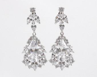 BROOKE - Wedding Earrings, Chandelier Bridal Earrings, Vintage Wedding, Teardrop Earrings, Crystal Earrings, Bridal Jewelry, Cubic Zirconia