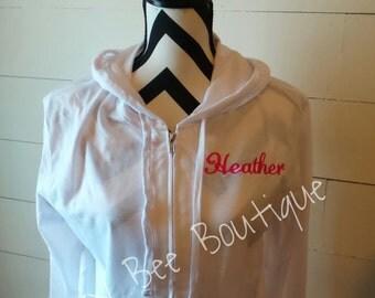 Monogram Lightweight Jacket, Monogrammed Bridal Party Jackets, Monogram Hooded Jacket