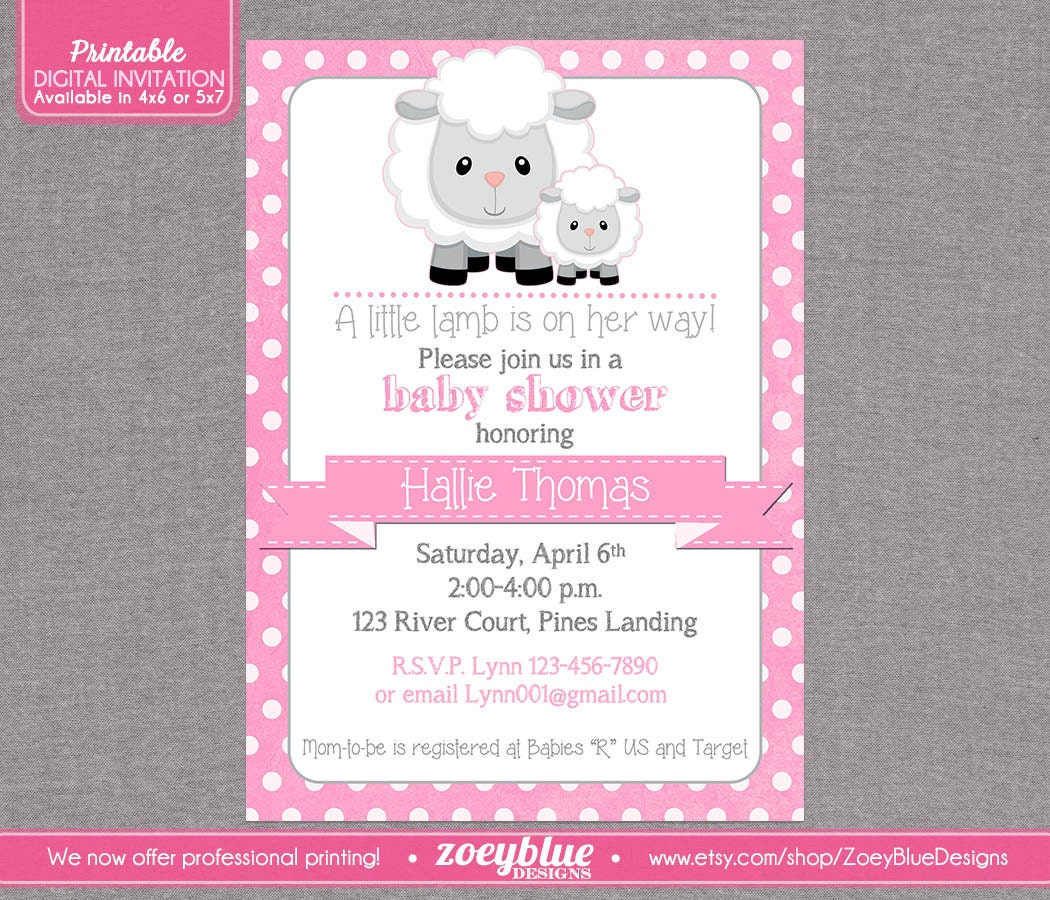 lamb baby shower invitation girl little lamb by zoeybluedesigns