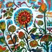Suzani birds: a limited edition giclee print of a painting inspired by Kazakstan Suzani embroidery