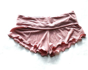 Pink Coral Striped Booty Shorts - Women's Ruffled PJ Shorts