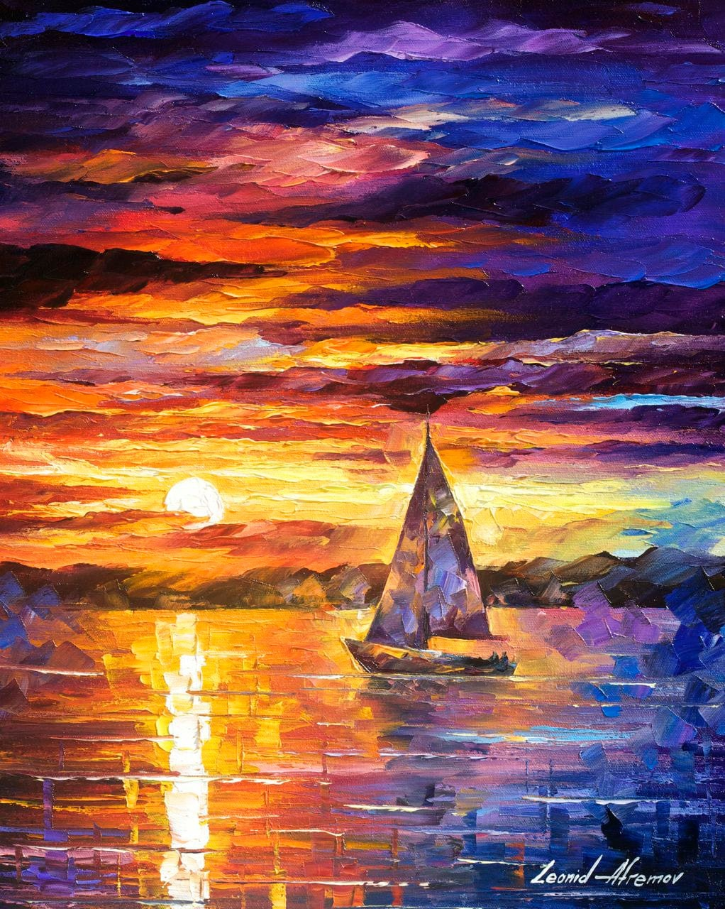 Little boat palette knife modern impressionist art landscape for Contemporary oil paintings