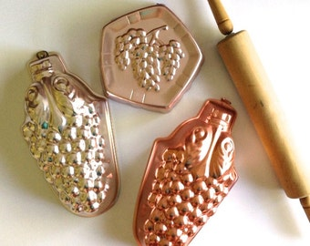 Vintage Copper Jello or Cake Grape Molds and Wall Hangings - Set of 3