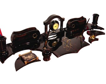 Perfect office desk organizer made from obsidian with full set, will look very gorgeous and luxurious on your working desk, made to order