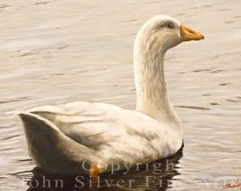 Aceo Bird Print, Goose. Waterfowl. From an Original Painting by JOHN SILVER. Personally signed. BD004AC