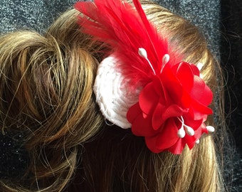Red and white flower feather hair clip