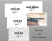 Little Lamm & Co, Digital, 2015 Brush Script Week Title Card Templates, PNGs, and Printables