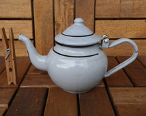 Vintage 1970's Light Blue Enamel Small Size Teapot 0.5 Litters