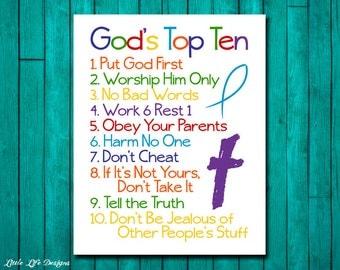 Christian Wall Art. Ten Commandments. Bible Verse. Godu0027s Top Ten For Kids. Part 31