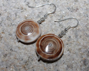 Drop earrings / shell earrings / Sterling Silver