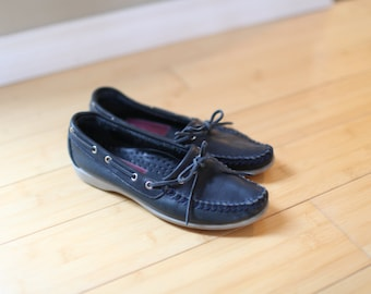 vintage navy blue leather boat shoes loafers women's 6