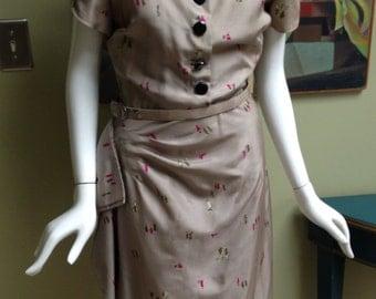Vintage 1930s Silk Dress  With Matching Belt - Lisbeth Fashions