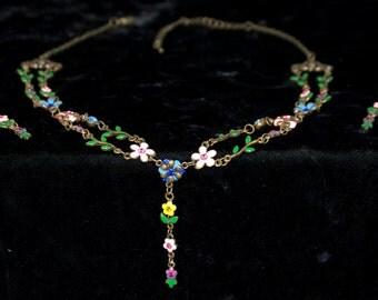 Delightful Enamel, Rhinestone, Brass Flower Choker with Matching Earrings.