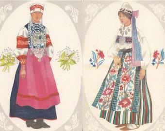 Unused postcard set of 2 from 70s - Estonian folk costumes - made in Estonia - artist V. Tolli - Estonian National Costumes - Setu woman