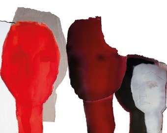 Minimalist Painting Heads, Large Modern Art Print in Black Red White, up to 50x70 cm, Color Wall Art
