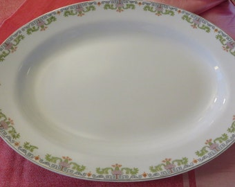 Large Vintage Platter  by Edwin M. Knowles  //  Semi Vitreous  //  Gold Trim  // Green and Lavender