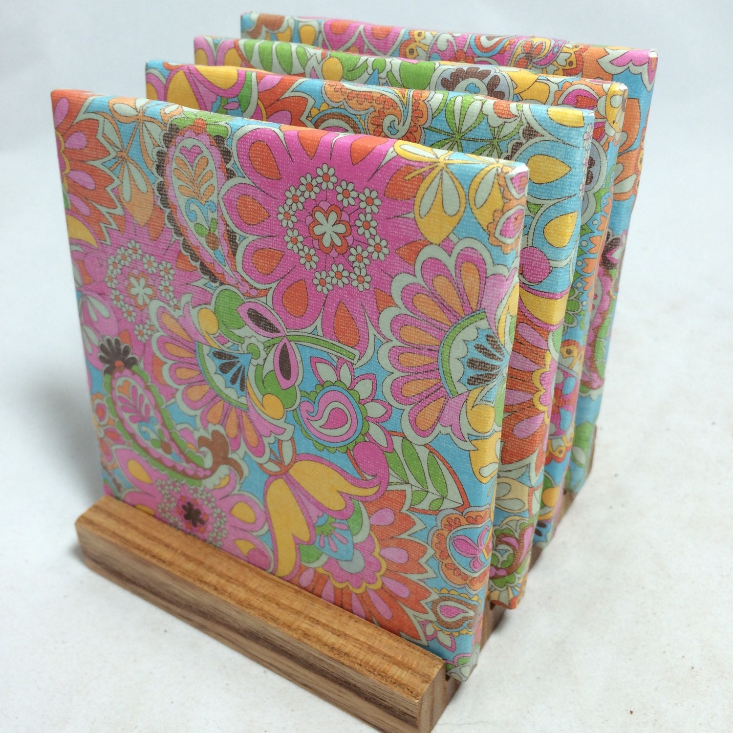 Handmade colorful paisley drink coasters set of for Handmade drink coasters