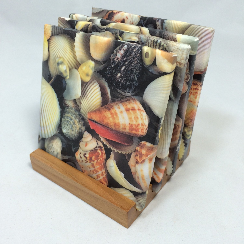 Handmade sea shells drink coasters set of four for Handmade drink coasters
