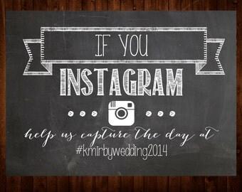 Instagram Wedding Chalkboard Printable Sign/Poster - Wedding Shower, Bridal, Engagement, Party, Hashtag, Reception, Photo, Photography