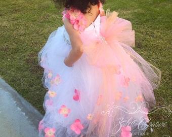 Baptism Dress - Mini Bride Dress - Flower Girl Dress - Lace Dress -  Big Bow - Tulle Dress - Wedding Dress - Emily Bloom Dress by Zulett