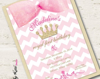 Pink and Gold Birthday Invitation First Birthday Invitation Pink and Gold Glitter