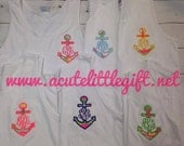 Monogrammed boyfriend tank with Lilly Pulitzer fabric anchor