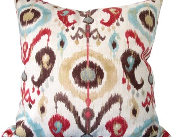 Teal,Red,Brown and Gold Ikat-Designer Decorative Pillow Cover-Duralee-Rustic-Suzani -Accent Pillow-Double Sided