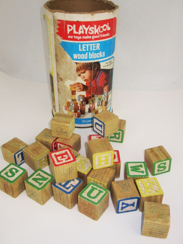 Some Playskool Letter Wood Blocks In Original