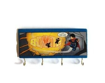 COMIC BOOK | SUPERMAN | Hanging Storage | Wall Decor | Key Rack | Jewellery Holder | Wall Art | Home | Office | Super Hero | Gift Idea