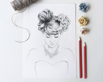 Original Pencil Drawing / Girl with Floral Necklace
