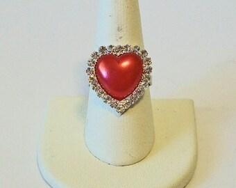 Elegant Red Pearl and Rhinestone Heart Shape Fashion Ring Adjustable Band