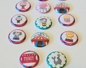 Set of 14 Fun at the Circus 1 Inch Flat Back Embellishments Buttons Flair