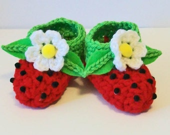 Adorable Hand Crocheted Baby Bootie Shoes Bright Red Strawberries Photo Prop Matching Hat & Bib Also Available