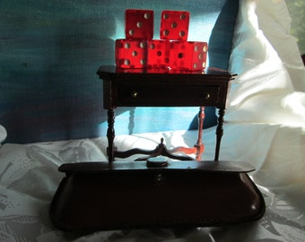 Vintage Red Dice Very Cool  with Leather Holder