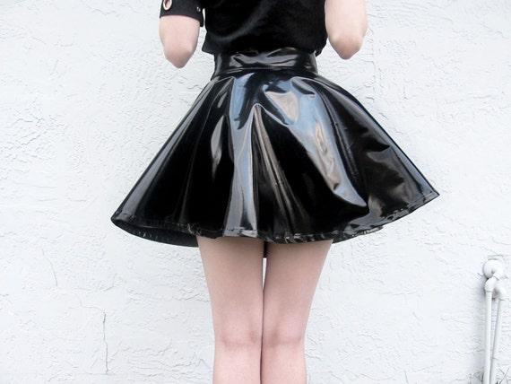 Black Vinyl Pvc Circle Skirt Size M High Waisted Shiny Patent