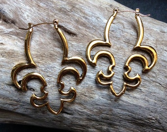 Fleur De HOOPS /  Football Hoops / NOLA Heart Earrings / Fleur De Lis / Earrings / Jewelry