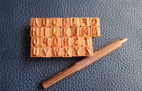 Full set alphabet ii leather carving tools hammer seal