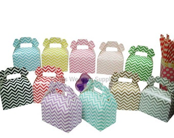12 x Chevron Gable Boxes Wedding Party Favour Lolly Bomboniere Gift Box Supplies