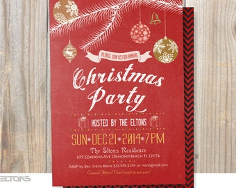 Christmas Party Invitation, DIY, Christmas Decorations, Double Sided