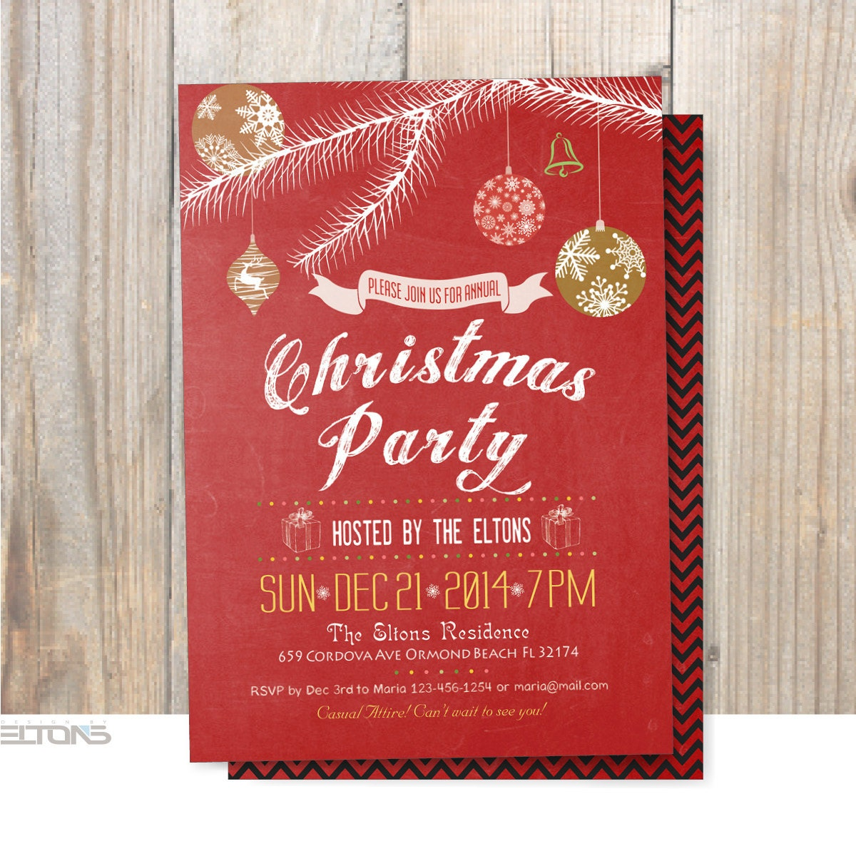 Christmas Party Invitation DIY Christmas Decorations Double