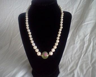 ruby in fuschite white pearl necklace