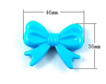 Deep Sky Blue Bowknot Pendant 36mm x 46mm